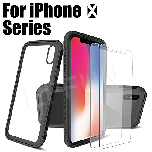 EFFUN iPhone X Case, Shockproof Heavy Duty Full Protective Anti-Scratch Resistant Cover Case with Cell Phone Holder, Two Tempered Glass Screen Protectors, Cleaning Package for Apple iPhone X-Black