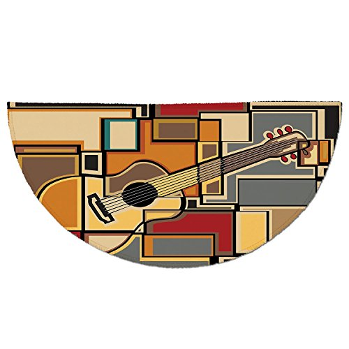 Rug 13800 (Half Round Door Mat Entrance Rug Floor Mats,Music Decor,Funky Fractal Geometric Square Shaped Background with Acoustic Guitar Figure Art,Multi,Garage Entry Carpet Decor for House Patio Grass Water)