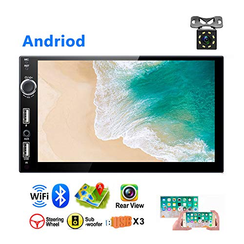 Android Car MP5 Player 2 Din Car GPS Stereo AMprime 3 USB Ports 7 inch 1080P Touch Screen Bluetooth Car Video Player FM Radio Receiver Mirror Link + Backup Camera