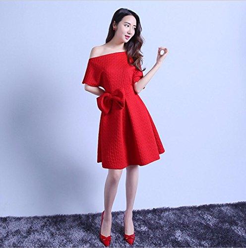 WBXAZL El Vestido de Noche, la Reunión Anual, el Anfitrión, el Vestido, la Dama de Honor, el Vestido, la Dama de Honor. Rojo
