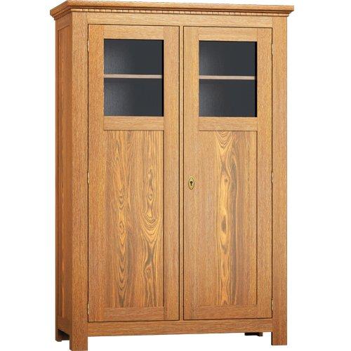 Vitrinenschrank - massiv Holz Kiefer - Holzschrank 200/100/38 - Antik hell, hellbraun rustikal