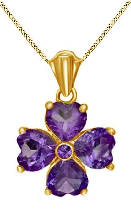 dce215829ef2 AFFY Plata de ley (925 1000) Plata chapada en oro amarillo de 18 K corte  heart violeta amatista  Amazon.es  Joyería
