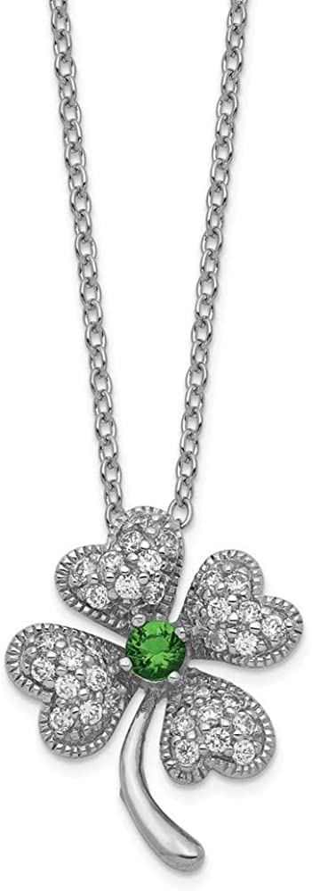 Cheryl M Sterling Silver Glass Emerald and CZ 4-leaf Clover Necklace 18