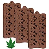 Marijuana Leaf Silicone Candy Mold - Korlon Chocolate Gummy Molds Ice Cube Trays for Party Gummies Cupcake Toppers Ice Soap Chocolate Cookies Butter or Party Novelty Gift, Pack of 3