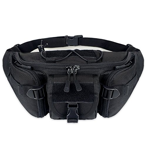 Tactical Waist Pack Portable Fanny Pack Outdoor Hiking Travel Military Waist Bag Sling Bag Chest Bag for Cycling Camping Hiking Hunting Fishing Shopping, Black