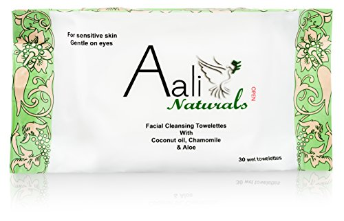 Facial Cleansing Towelettes with Coconut Oil, Chamomile & Aloe - 30 Count
