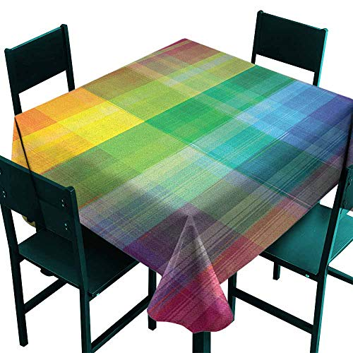 Sunnyhome Custom Tablecloth Vintage Rainbow Retro Plaid Design Checkered Squares Rainbow Colored Geometric Pattern Party Decorations Table Cover Cloth 36x36 Inch Multicolor