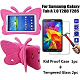 Tading Galaxy Tab A 7.0 Kids Case with Tempered Glass Screen Protector, Lightweight Baby Friendly Protective Cover - Cute Butterfly Wings Double as Stand for Samsung Galaxy Tab A 7' T280 T285 - Rose