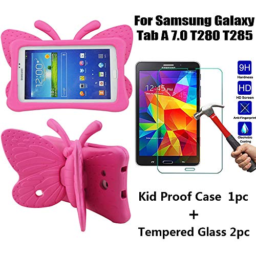 """Tading Galaxy Tab A 7.0 Kids Case with Tempered Glass Screen Protector, Lightweight Baby Friendly Protective Cover - Cute Butterfly Wings Double as Stand for Samsung Galaxy Tab A 7"""" T280 T285 - Rose"""
