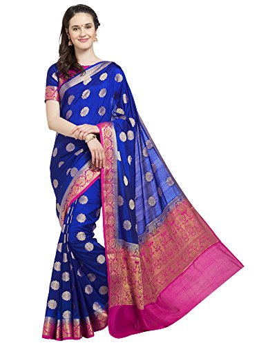 Viva N Diva Saree for Women's Royal Blue & Pink Banarasi Art Silk Saree with Un-Stiched Blouse Piece,Free Size