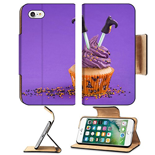 [Luxlady Premium Apple iPhone 7 Flip Pu Leather Wallet Case IMAGE ID: 22167569 Halloween cupcake with witch] (Easy Decorated Halloween Cupcakes)