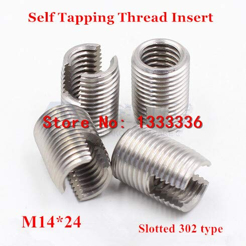 L Ochoos 10pcs M14224 302 Slotted Type Stainless Steel Screw Bushing M14 Wire Thread Repair Insert Self Tapping Thread Insert