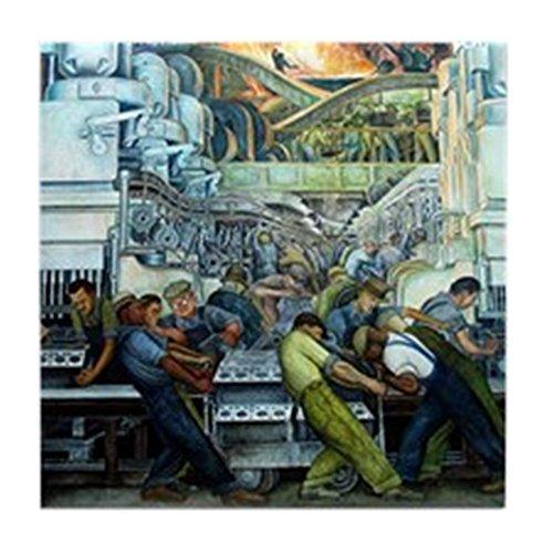 CafePress - Diego Rivera Detroit Mural Art Tile Coaster - Tile Coaster, Drink Coaster, Small Trivet