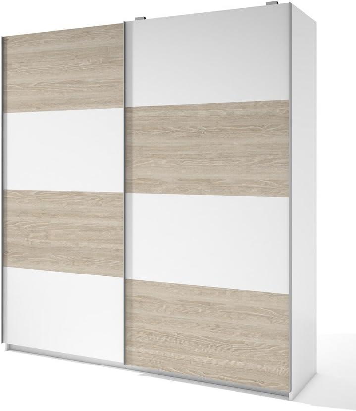 LIQUIDATODO ® - Armario de 2 puertas correderas moderno y barato de 201 cm bicolor Sable y Blanco: Amazon.es: Hogar