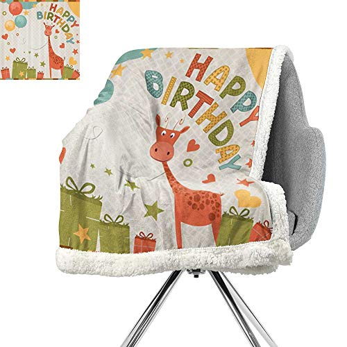 ScottDecor Birthday Decorations for Kids Blanket Small Quilt,Old Cartoon Giraffe with Box Balloons and Stars,Green Pink and Marigold,Print Artwork W59xL47 Inch ()