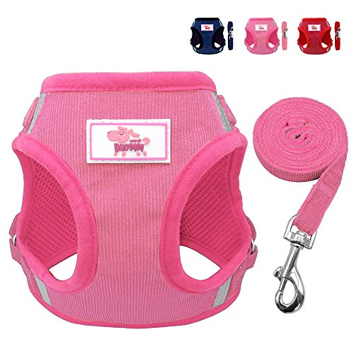Beirui Reflective Dog Vest & Leash Set - Soft Harness Medium Large Dogs & Cats - Comfort Step-in Mesh Padded Harness 4ft Leash Pet Supplies,Pink Chest 18.5'' by Beirui (Image #9)