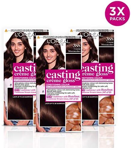 Tinte para cabello Casting Creme Gloss, semipermanente, color castaño cacao mocaccino, 388 (paquete de 3)