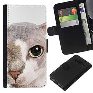 Stuss Case / Funda Carcasa PU de Cuero - Peterbald Bambino Cat Hairless Face - Samsung Galaxy Core Prime