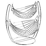 Chrome Double Hammock 2 Tier Fruit / Vegetables / Produce Metal Basket Rack Display Stand - MyGift