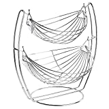 MyGift Chrome Double Hammock 2 Tier Fruit/Vegetables / Produce Metal Basket Rack Display Stand