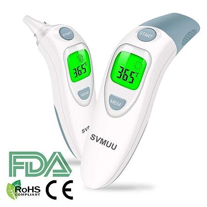 Termómetro Digital Frente y Oído, SVMUU Termómetro Médico Infrarrojo para Bebés, Multifunción 4 en