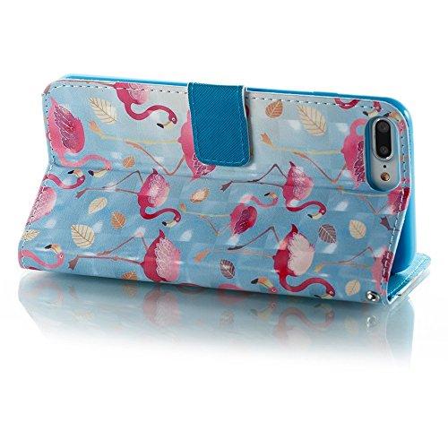 SRY-Bolsa para teléfono móvil Gráficos 3D de la caja de cuero de la PU con la caja plana del teléfono celular de la ranura del efectivo de la ranura del acollador para el iPhone 7 Plus / 8 más ( Color D