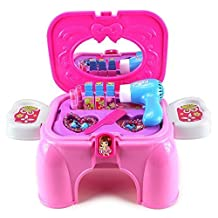 Beauty Mini Butterfly Pretend Play Toy Beauty Mirror Vanity Play Set w/ Working Hair Dryer, Accessories