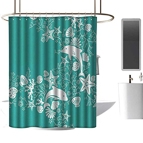 (homehot Shower Curtains for Bathroom Small Sea Animals,Dolphins Flowers Sea Life Floral Pattern Starfish Coral Seashell Wallpaper,Sea Green White,W72 x L84,Shower Curtain for clawfoot tub)