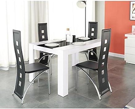 Générique Damia Ensemble Table a Manger 140x90 cm + 4 chaises en Simili -  Blanc et Noir
