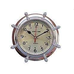 Chrome Double Dial Porthole Wheel Clock 8 - Chrome Shipwheel - Port Hole