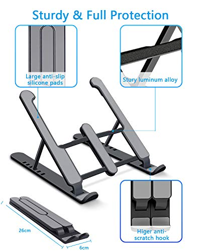 aifulo Laptop Stand, Adjustable Notebook Stand, Portable Foldable Cooling Desktop Laptop Holder Riser Mount Compatible with Laptop, Notebook Computer, Tablet, Kindle