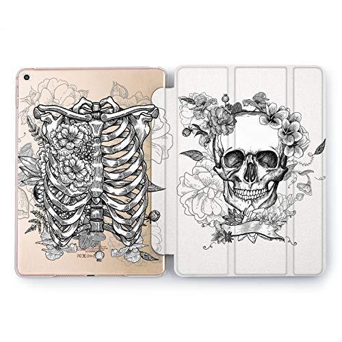 Wonder Wild White Skeleton iPad Case 9.7 Pro inch Mini 1 2 3 4 Air 2 10.5 12.9 2018 2017 Design 5th 6th Gen Clear Print Smart Hard Cover Bones Scary Spooky Anatomy Doctor Santa Muerte Scull Floral -