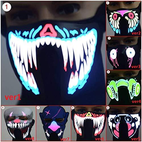 (mrGood Halloween LED Luminous Flashing Face Mask Party Masks Light Up Dance Halloween Cosplay)