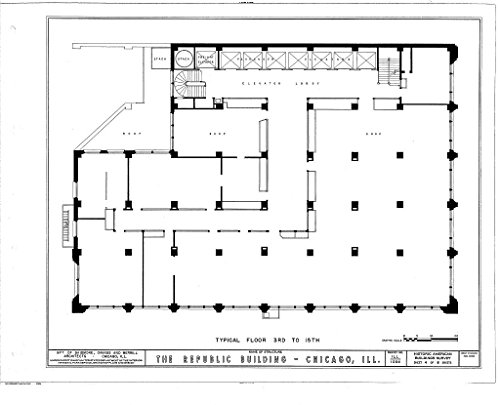 (Historic Pictoric Blueprint Diagram HABS Ill,16-CHIG,9- (Sheet 4 of 8) - Republic Building, 209 South State Street, Chicago, Cook County, IL 14in x 11in )