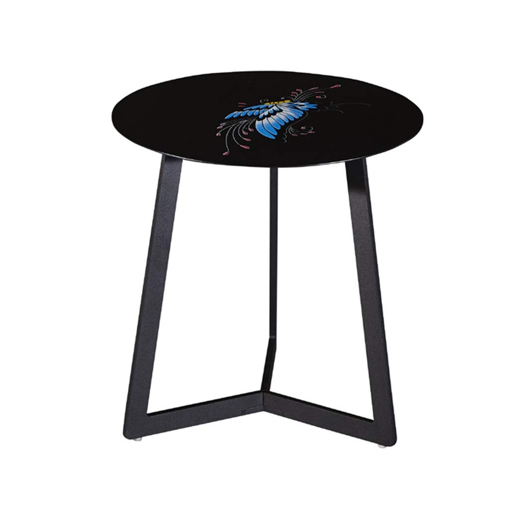 LQQGXLBedside Table Tea Table Home Living Room Balcony Bedroom Round Side Table a Variety of Styles Optional Small Side Table (Color : Black B) by LQQGXL
