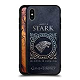 Official HBO Game of Thrones Stark Metallic Sigils Black Hybrid Glass Back Case Compatible for iPhone Xs Max