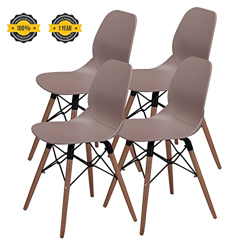 Wood Shell Natural Finish (Modern Dining Chairs -No.1 Tufted Mid Century Eames Style DSW Side Chairs, 300 lbs Capacity,17.8 inch Seated Height,Sturdy Wooden Legs,Upgraded Base-Light Coffee,Set of 4)