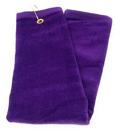 Purple Tri-Fold Golf, Hand Towel with Grommet & (Cotton Sheared Terry Towel)