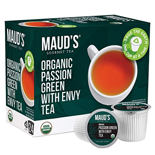 Maud's Organic Green Tea Passion (Passion Green With Envy Tea), 24ct. Solar Energy Produced Recyclable Single Serve…