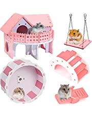 DuvinDD Hamster House with Running Wheel, Wooden Gerbil Toys, Rat Cage Habitat Decor Accessories Real Hamster Bridge Seesaw Pet Mouse Swing for Small Animal Sugar Glider Syrian Hedgehog