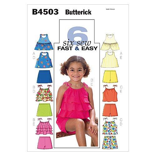 Butterick Patterns B4503 Children's/Girls' Top, Skort and Shorts, Size CDD (2-3-4-5)