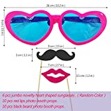 6 Pcs Colorful Jumbo Novelty Heart Shaped Sunglasses with 20 Pcs Photo Booth Props,Party Sunglasses for Adults/Kids,Raves,Halloween Costumes Cosplay,Masquerade Balls,Party Favor(Random Color)