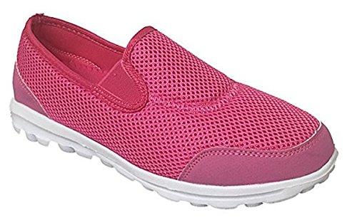 lässige On Größe Leichte Canvas Flexi Plimsoll 3 Pink Mesh Schuhe UK Sportschuhe Slip Go Pumps Damen 7 Komfort 01xpHH