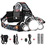 5000 Lumens Max Headlamp, Grde® 3 LED 4 Modes headlight, Hands-free ...