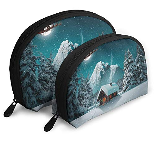 2pcs Deer Sled in Winter Cosmetic Bag Travel Makeup Pouch Bag Portable Shell Makeup Bag Clutch Toiletry Pouch with Zipper ()