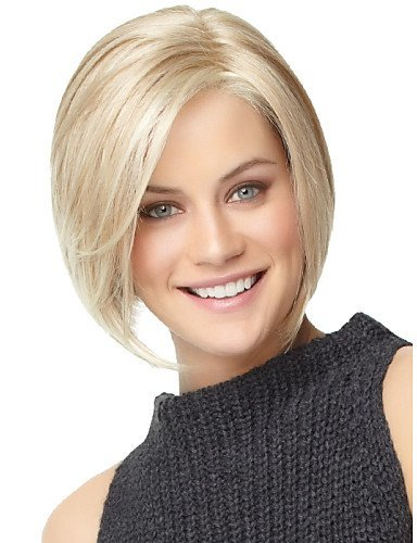 BESTUNG Short Straight Bob Ombre Blonde Synthetic Wigs with Side Bangs Cosplay Costume Party Hair Wigs for Women -