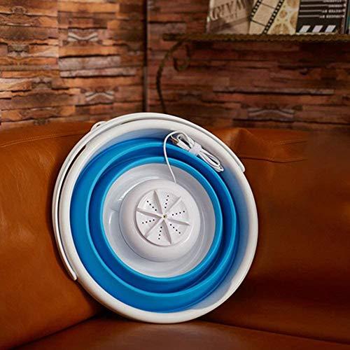Portable Mini Turbo Washer Foldable Compact Ultrasonic Turbo Washer Travel Washer USB Powered (Blue)