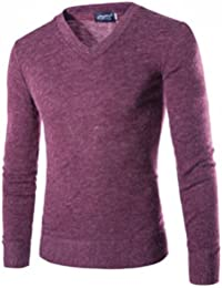 ZAWAPEMIA Men's Solid Color Slim Fit V-neck Knit Sweater