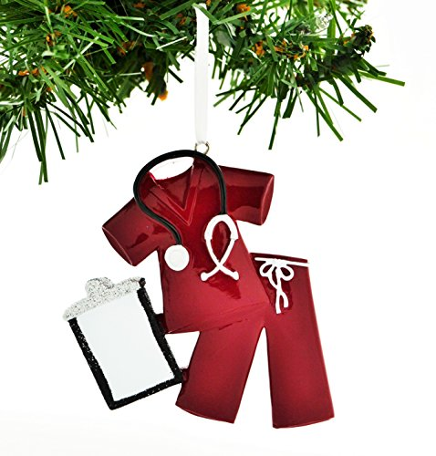 Scrubs Ornament - PERSONALIZED CHRISTMAS ORNAMENT SCRUBS DOCTOR NURSE RED