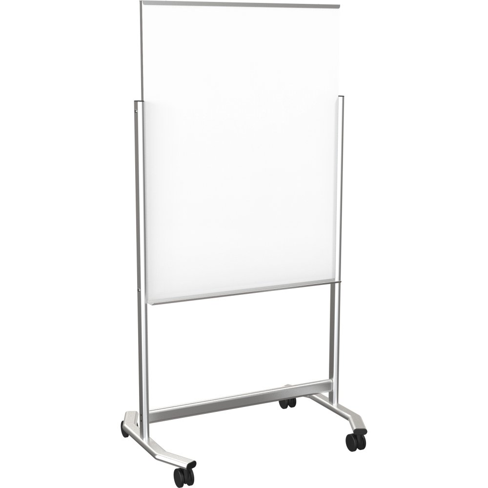 Best-Rite Visionary Move Double Sided Mobile Magnetic Glass Whiteboard Easel, 3x4 Feet (74950)